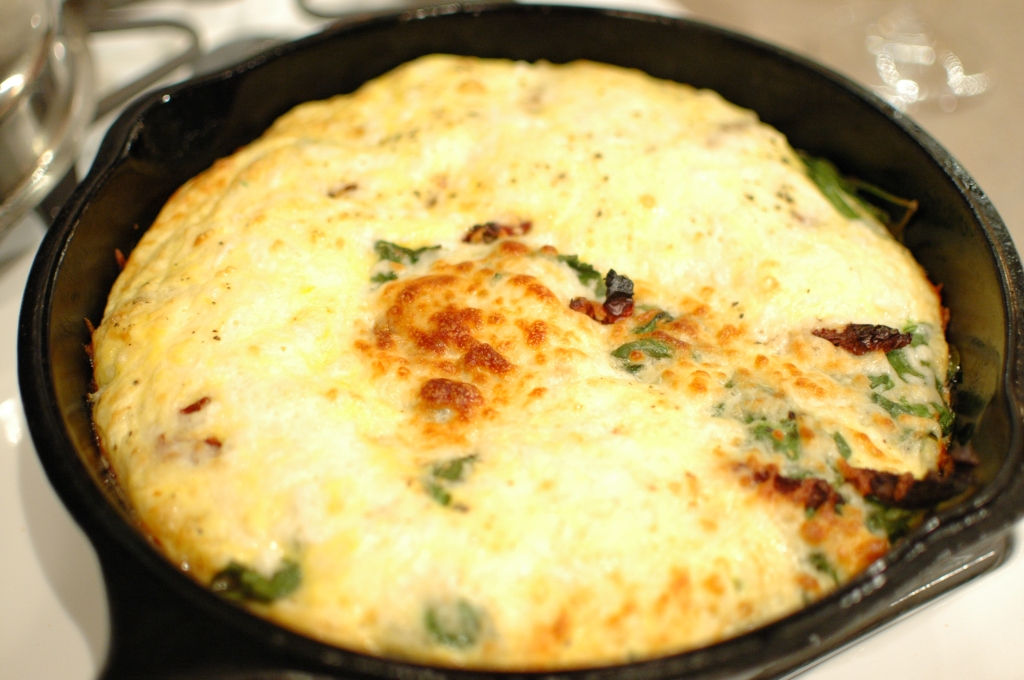 Mozzarella, Tomato and Spinach Frittata